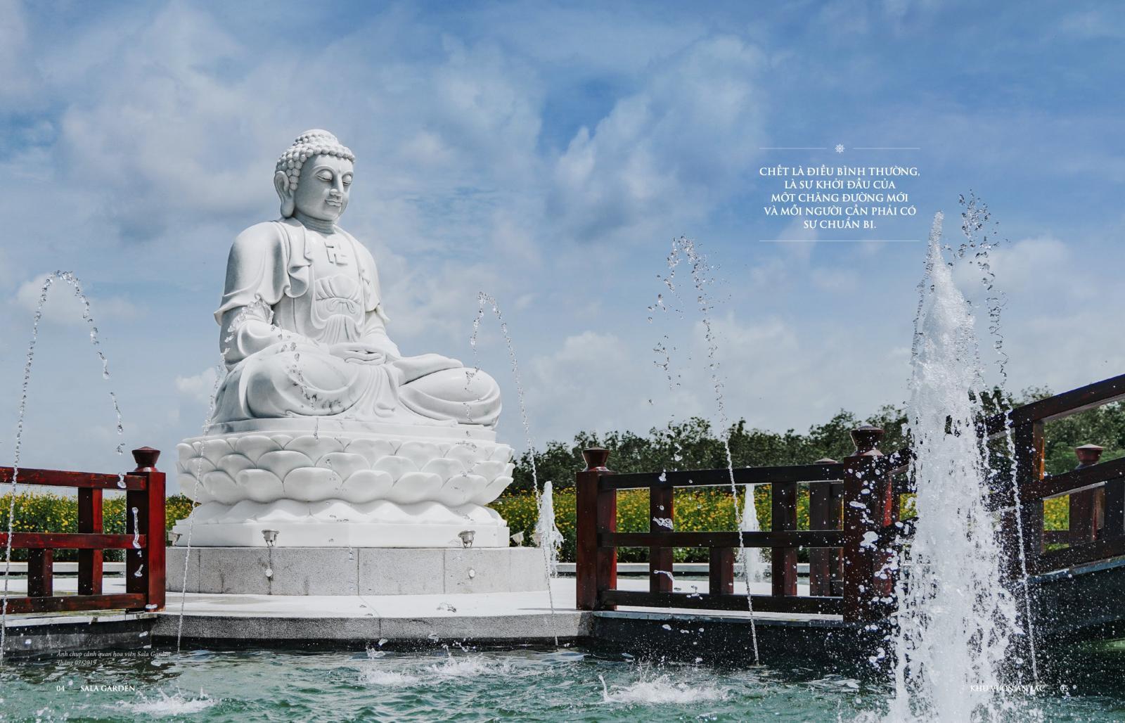 Tượng Phật trong hoa viên nghĩa trang Sala Garden