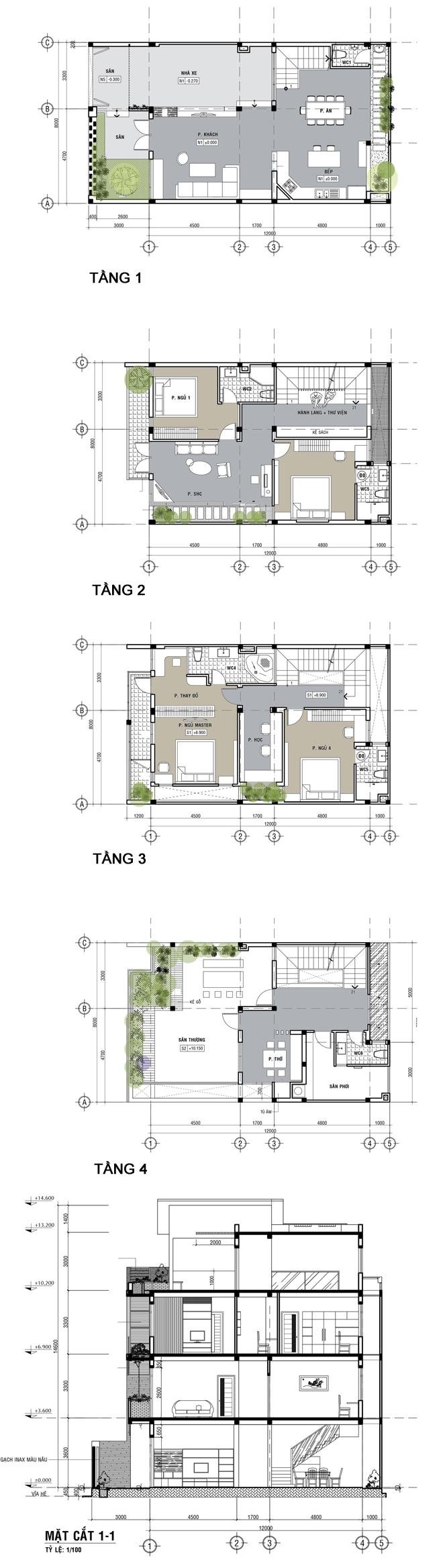 Bản vẽ thiết kế nhà phố 4 tầng