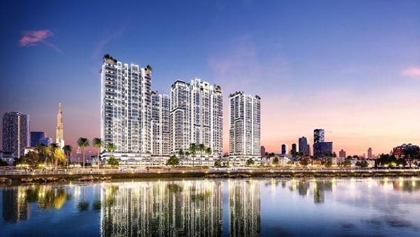 toà nhà cao tầng có sông hồ phía trước