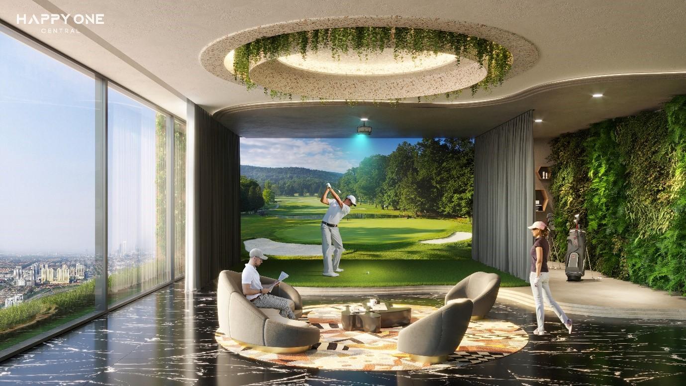 hai người đàn ông và người phụ nữ chơi golf