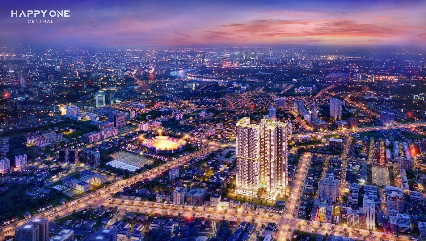 thành phố về đêm có nhiều toà nhà