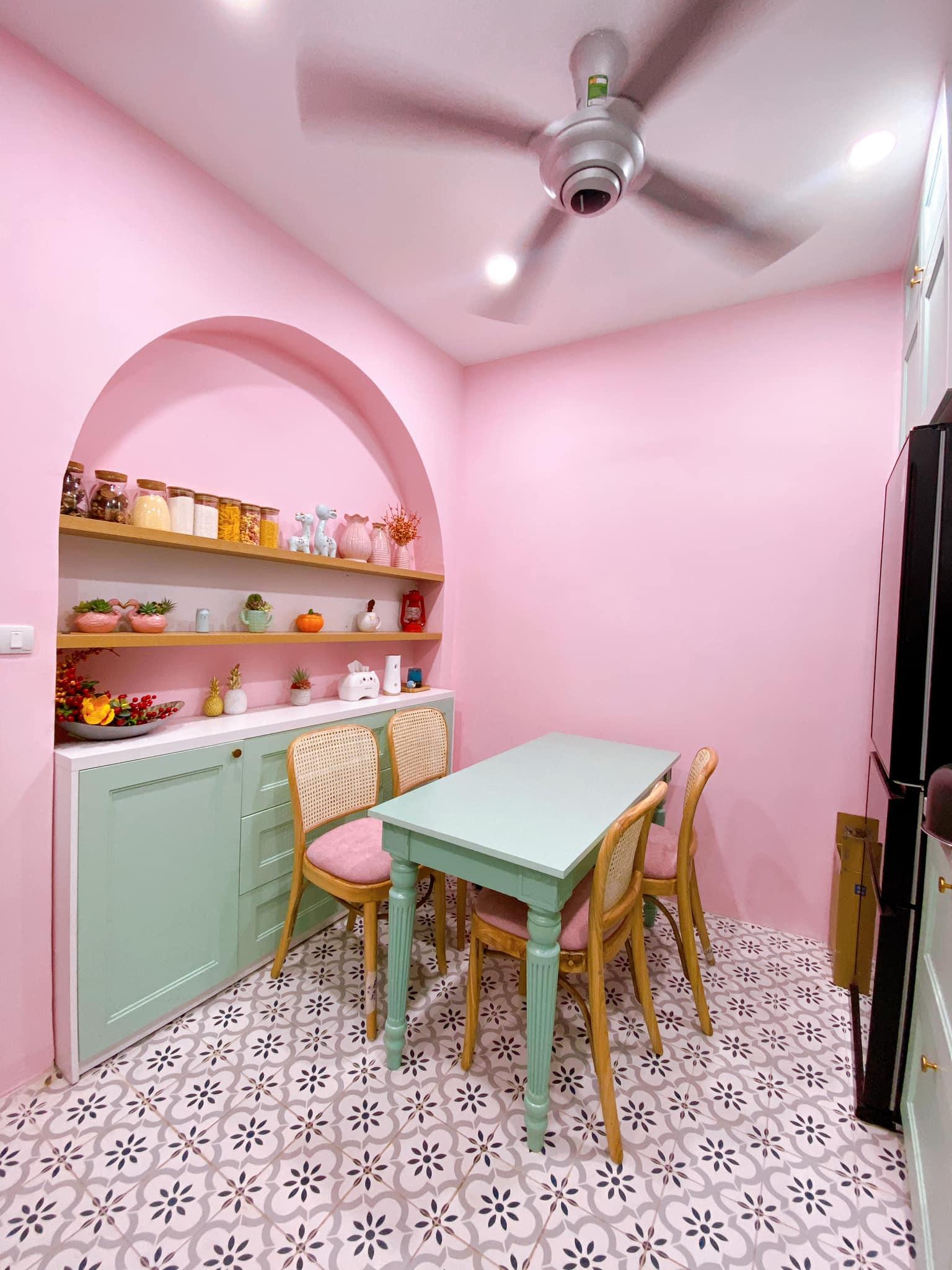 phòng bếp màu hồng