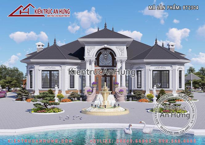 ngôi nhà, hồ nước, cây cối và sân