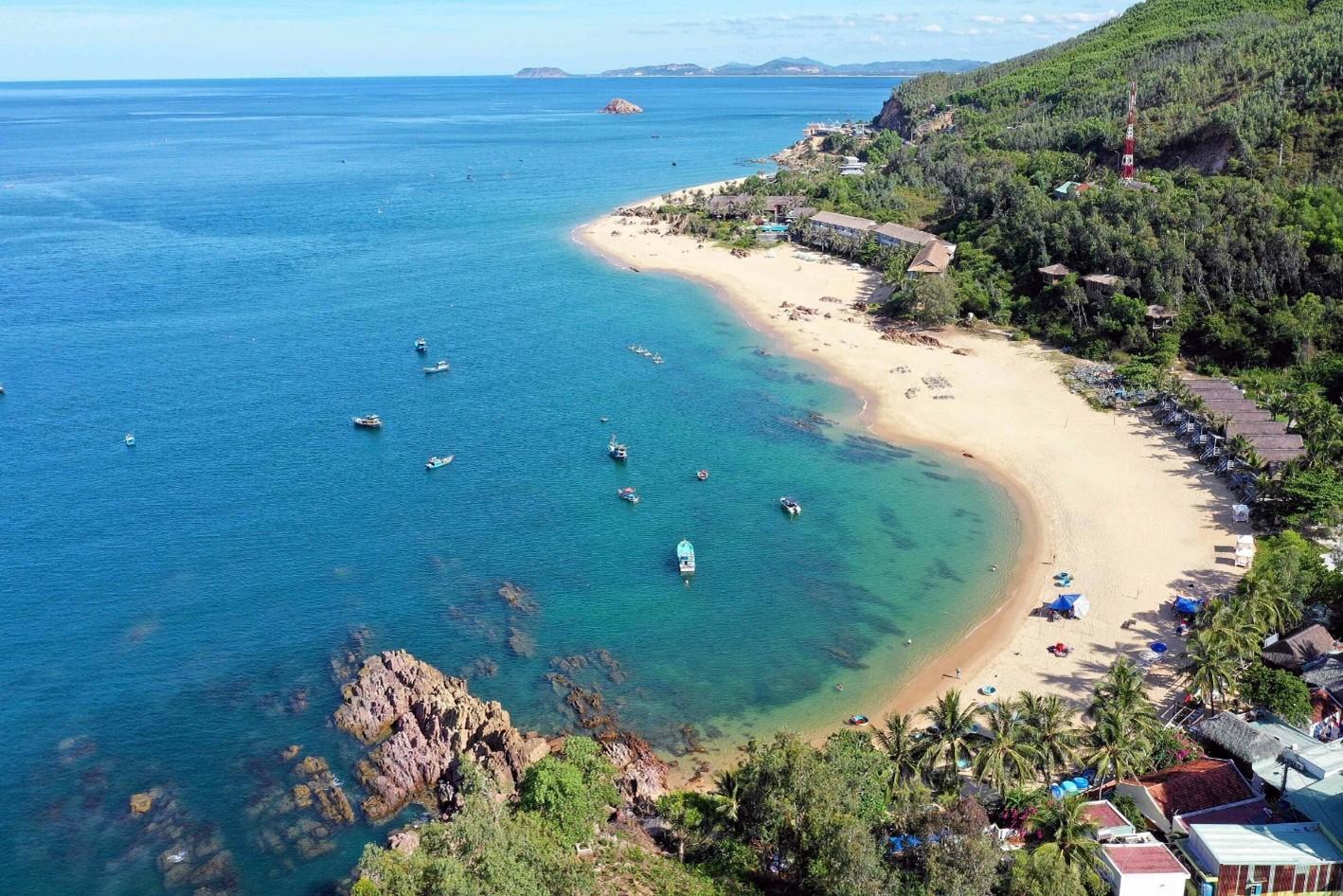 khu vực ven biển có cây cối và tàu thuyền