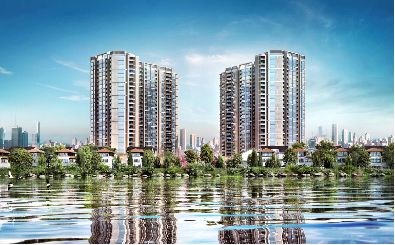 2 toà nhà cao tầng nằm cạnh hồ