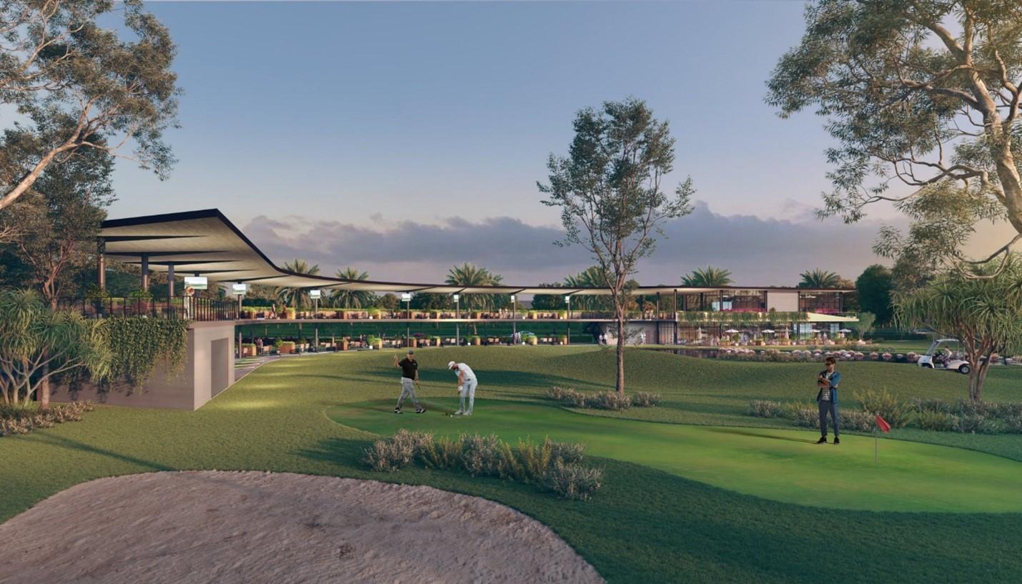 ba người đang đứng ở sân golf