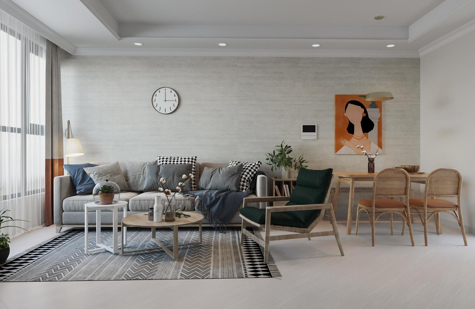 bộ bàn ghế bên trong căn hộ, trên tường có bức tranh