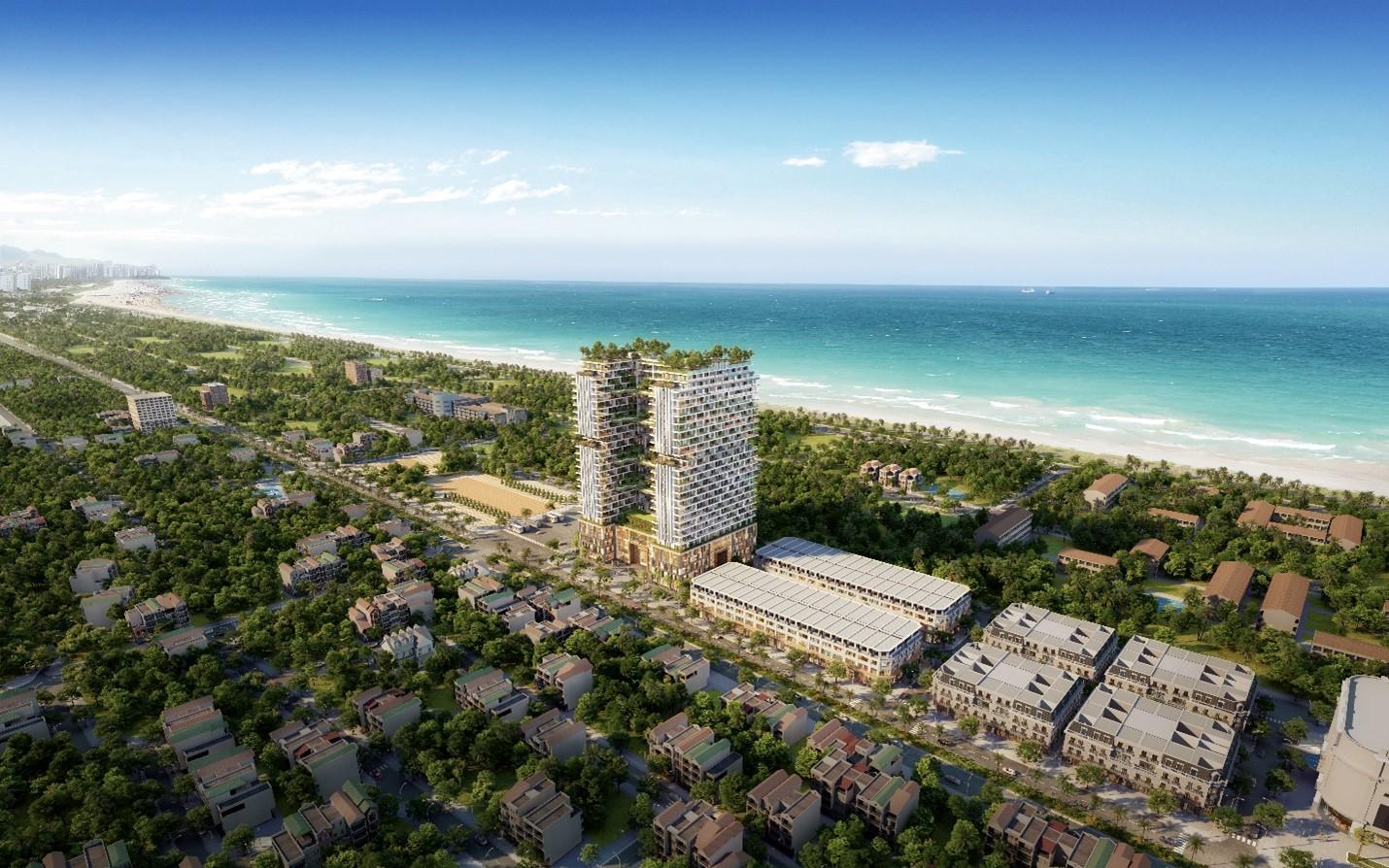 hai toà nhà cao tầng và nhiều công trình thấp tầng nằm ven biển