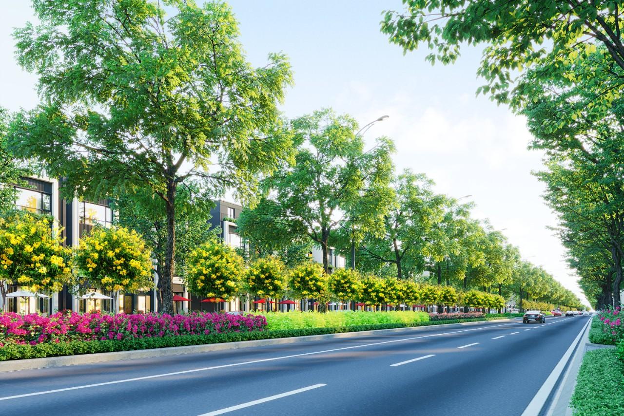 Phối cảnh đường giao thông dự án hai bên nhiều cây xanh