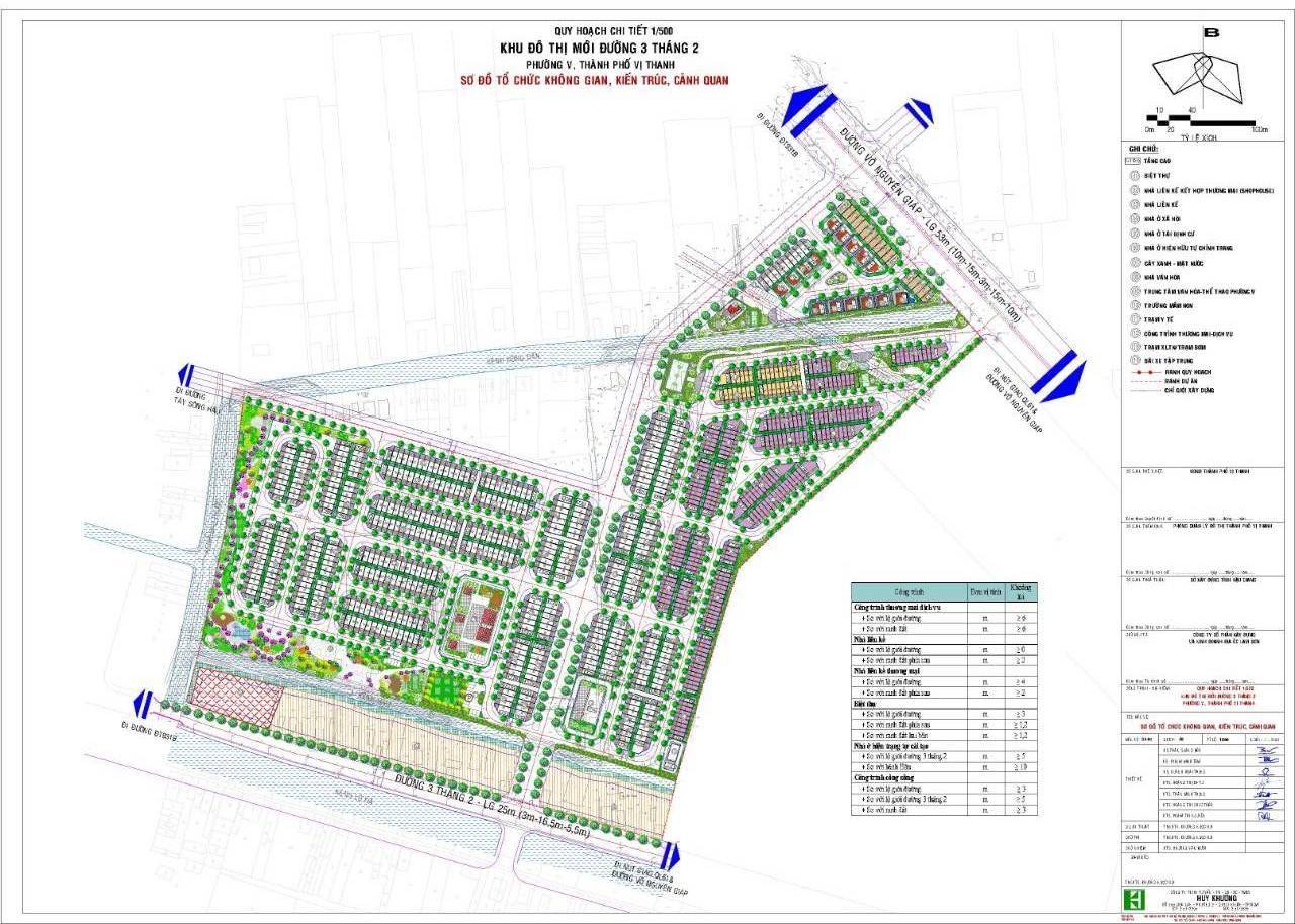 quy hoạch chi tiết 1/500 dự án KĐTM Đường 3 tháng 2, TP. Vị Thanh.