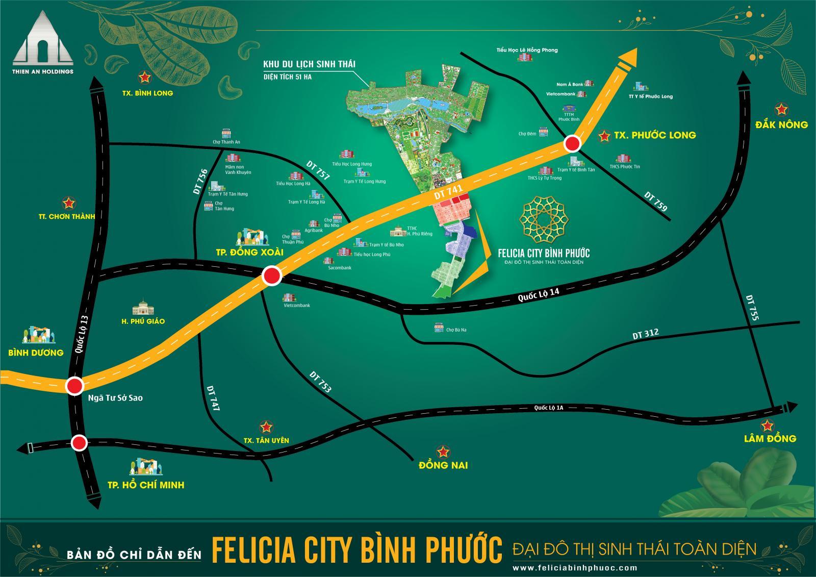 Vị trí dự án Fecilia City Bình Phước
