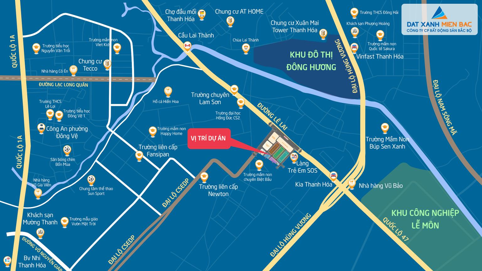 Vị trí dự án Quảng Hưng Central Point