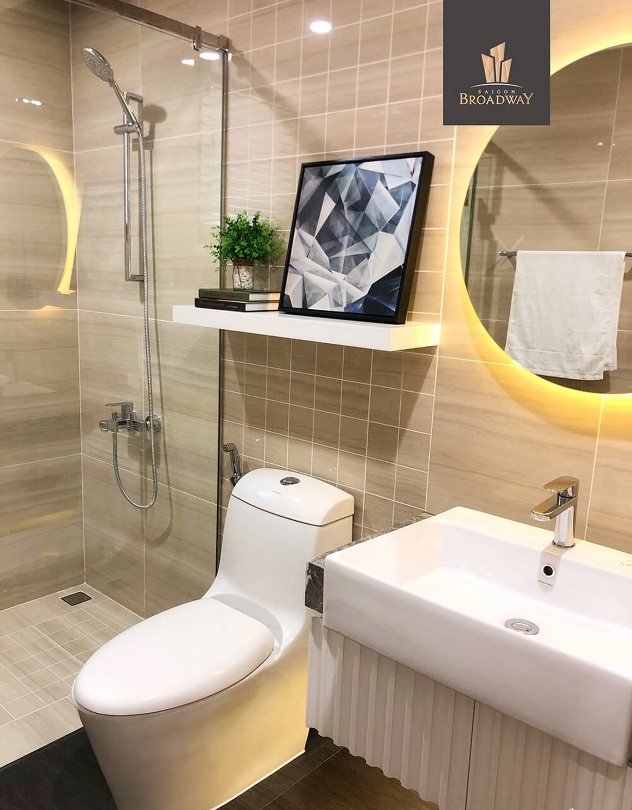 A bathroom with a toilet and sink  Description automatically generated with medium confidence
