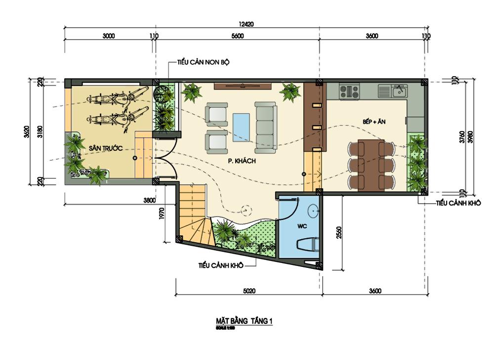 Bản vẽ thiết kế nhà nở hậu