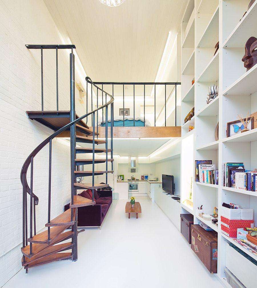 Cầu thang gác lửng thiết kế xoắn ốc lạ mắt