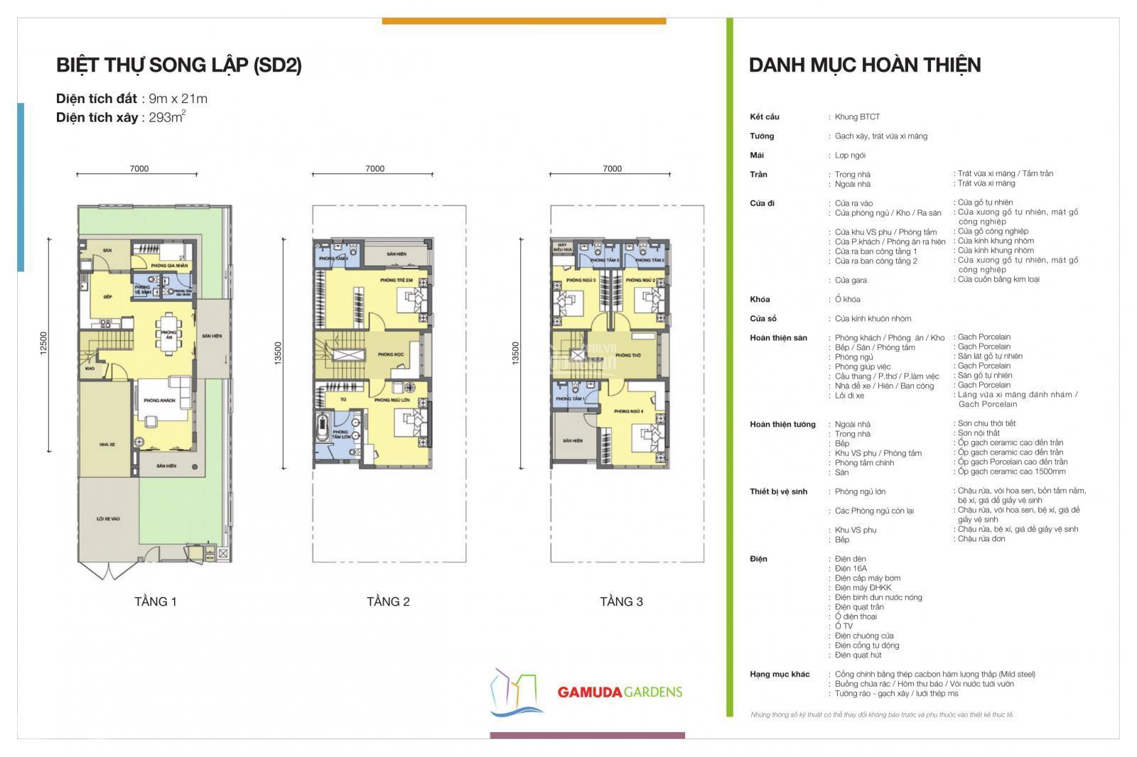Bán biệt thự song lập Gamuda, sàn xây dựng 100m2. Lh: 0962686500