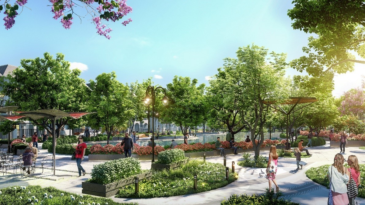 Khuôn viên xanh tại dự án Phương Đông Green Valley