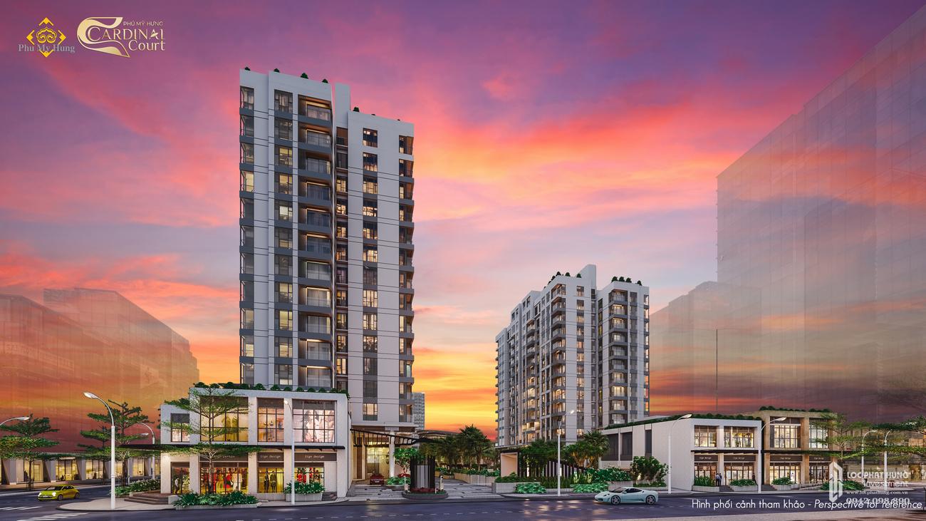 Phối cảnh tổng thể dự án căn hộ chung cư Cardinal Court Quận 7 Đường Raymondienne chủ đầu tư Phú Mỹ Hưng