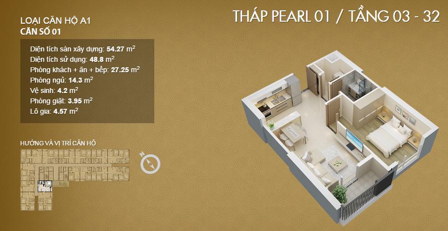 Thiết kế căn 1 phòng ngủ tại dự án Mỹ Đình Pearl