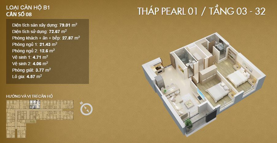 Thiết kế căn 2 phòng ngủ tại dự án Mỹ Đình Pearl