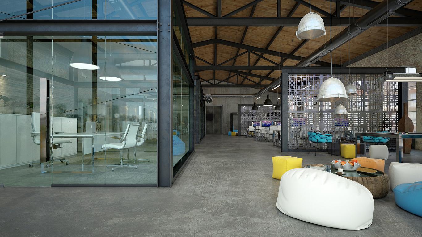 Một văn phòng được thiết kế theo phong cách Industrial