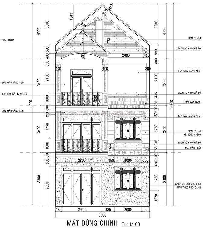 mặt đứng nhà phố ba tầng mái Thái