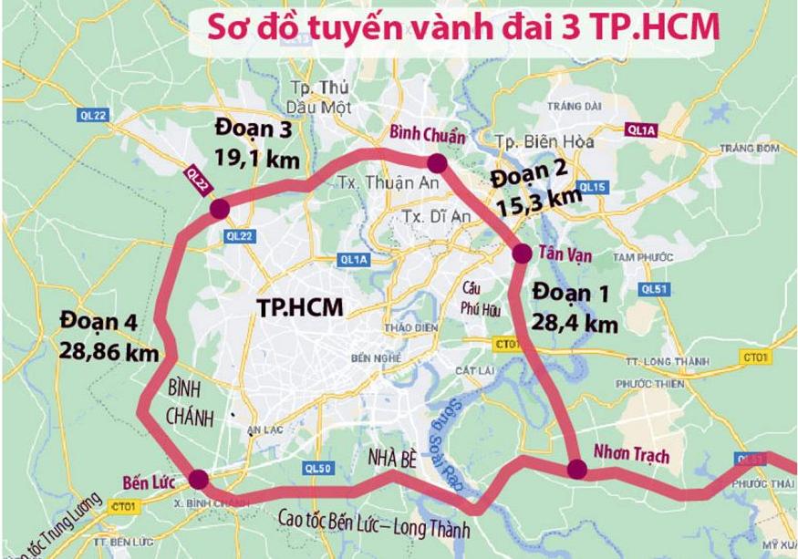 Sơ đồ tuyến đường vành đai 3 TP.HCM