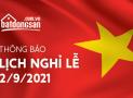 Batdongsan.com.vn thông báo lịch nghỉ lễ Quốc khánh 2/9/2021
