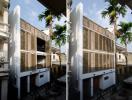 Độc đáo ngôi nhà với mặt tiền là hệ cửa sổ tre cao 8m
