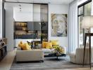 Phòng khách nổi bật nhờ xu hướng trang trí nội thất màu vàng