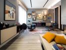 Vẻ đẹp ấn tượng của căn hộ được trang trí bởi gam màu trắng đen