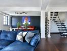Căn hộ nổi bật nhờ sử dụng nội thất màu xanh dương