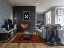 Thiết kế căn hộ một phòng ngủ theo phong cách công nghiệp