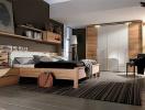 Nội thất gỗ đem lại cảm giác ấm áp cho phòng ngủ