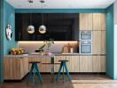 Phòng bếp màu xanh dương dịu dàng mà vẫn nổi bật