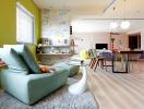 Căn hộ đầy màu sắc và sử dụng giấy dán tường thông minh