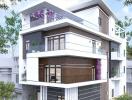 Tư vấn thiết kế nhà phố 3 tầng có sân thượng, diện tích 10x25m