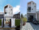 Nhà 1 trệt 1 lầu với lối kiến trúc độc đáo nổi bật giữa vùng nông thôn