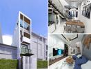 Mẫu nhà phố 1 trệt 2 lầu có sân thượng với mặt tiền 3,5m được thiết kế theo phong cách hiện đại