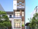 Tư vấn thiết kế nhà phố 1 trệt 2 lầu trên mảnh đất 4x14m