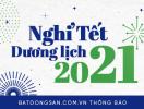 Batdongsan.com.vn thông báo lịch nghỉ Tết Dương lịch 2021