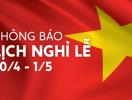 Batdongsan.com.vn thông báo lịch nghỉ lễ 30/4 và 1/5