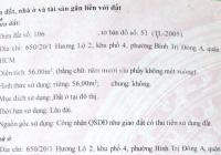 Chính chủ giảm giá sốc 200tr cần bán gấp 650/20/1 Hương Lộ 2, Bình Tân