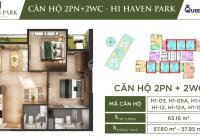 Trả trước 270 triệu sở hữu ngay căn 2PN 2WC khu đô thị Ecopark 63.16m2 Văn Giang, Hưng Yên
