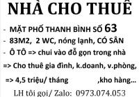 83m2 nhà mặt phố 63 Thanh Bình, 2 vệ sinh, 4.5 triệu/tháng, ô tô cất gọn trong sân nhà