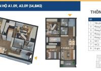 Kẹt tiền cần bán gấp căn hộ 2 phòng ngủ 54.8m2 tại Phương Đông Green Park