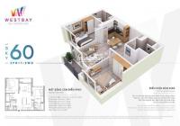 Bán căn hộ Westbay 60m2 ban công Đông Nam, view nhà phố, bể bơi. Giá bán 1.8 tỷ, liên hệ 0969695710