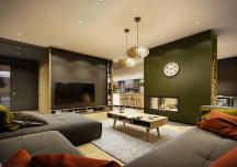 Phòng khách rộng thênh thang trong căn hộ màu trung tính tuyệt đẹp