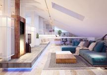 Thiết kế tiện lợi của căn hộ áp mái 2 phòng ngủ