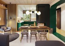 Ngôi nhà ấn tượng hơn nhờ sử dụng màu xanh lá cây làm điểm nhấn